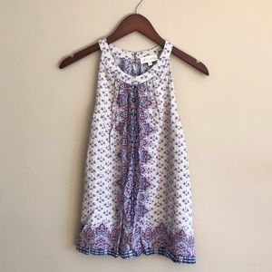 Halter Tank Top with Floral Pattern